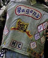 Photo of a jacket of the Pagans Motorcycle Club